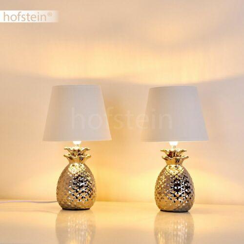 2er Set Wohn Schlaf Zimmer Leuchten Stoff Keramik silber Nacht Tisch Lese Lampen