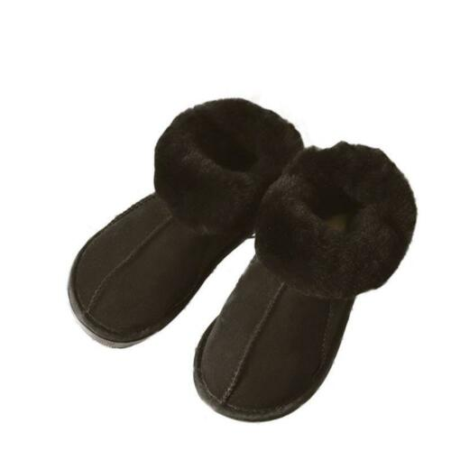Womens Mens Winter Natural Sheepskin Fur Lined Slippers Slip On Warm Wool Shoes