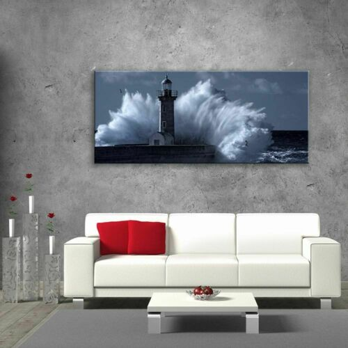 Glass Picture Toughened Wall Art Unique Lighthouse Sea Waves Dark Blue Any Size