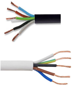 1.0 1.5 2.5mm 5 Core Black or White Electrical Flexible Mains Cable Wire 0.75