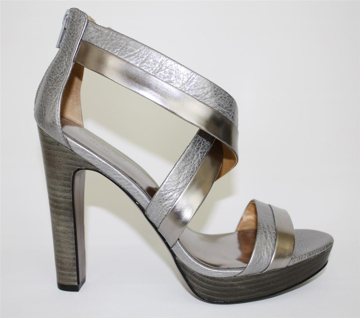 damen COACH A3723 BRYNN CUBA Platform Sandals Heels Leather Metallic Pewter
