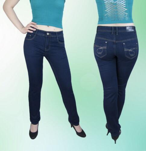 Damen Jeans Hose Normalsitzend Gerades Bein Dunkelblau Blau 36 38
