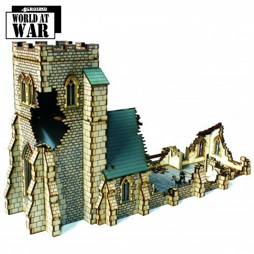 4ground Dañado Parish Church 28mm PREPAINTED World at War Terrenos terreno WW2