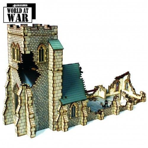 4Ground Damaged Parish Church 1 3 32in Prepainted World at War Terrain WW2