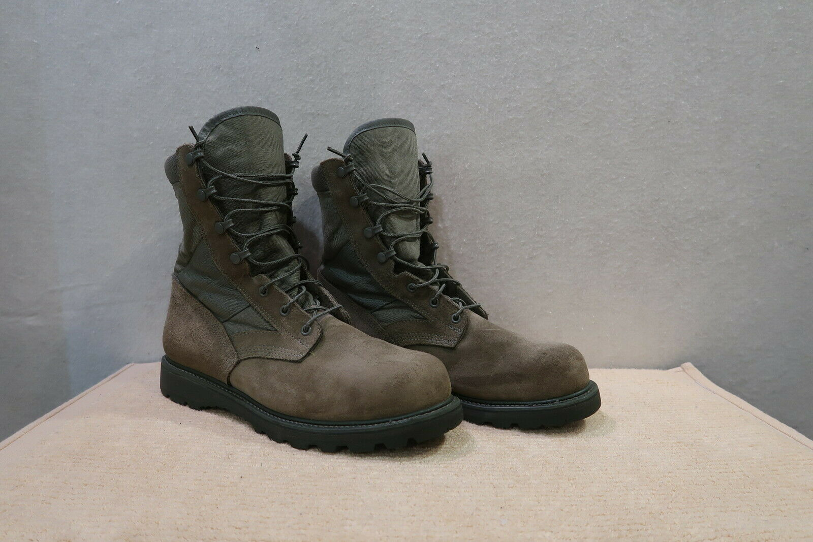 Mens UFCW Olive Drab Sage Green Steel Safety Toe Work Military Boots 12 W (WIDE)