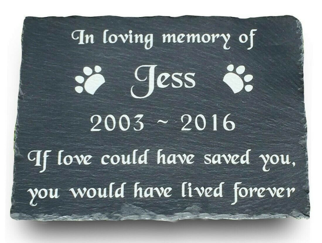 Engraved Pet Memorial Large Slate Headstone Grave Marker Plaque Cat Dog Rabbit