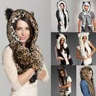 Hot New Warm Winter Animal Fur Hat Fluffy Plush Cap Hood Scarf Shawl Glove Dint