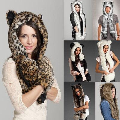 New Warm Winter faux Fur Hat Fluffy Plush Cap Hood Scarf Shawl Glove Dint
