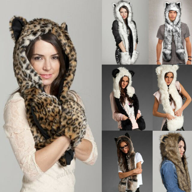 New Warm Winter faux Fur Hat Fluffy Plush Cap Hood Scarf Shawl Glove Dint