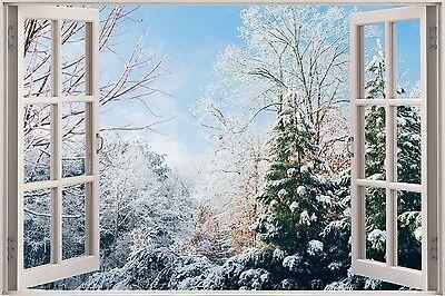 3D Effect Window View Snow Winter Road Wall Sticker Poster M15-631