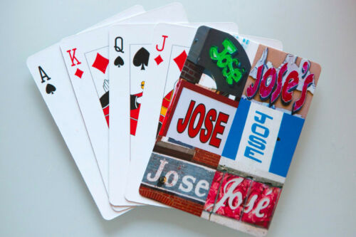 Personalized Playing Cards featuring JOSE in photos of actual signs