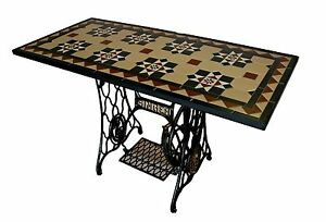 Coffee Table Old Fashioned Singer Sewing Machine With Mosaic Top