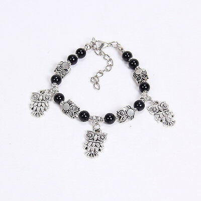 NEW DIY fashion owl black Tibetan silver beaded bracelet gift of love S147