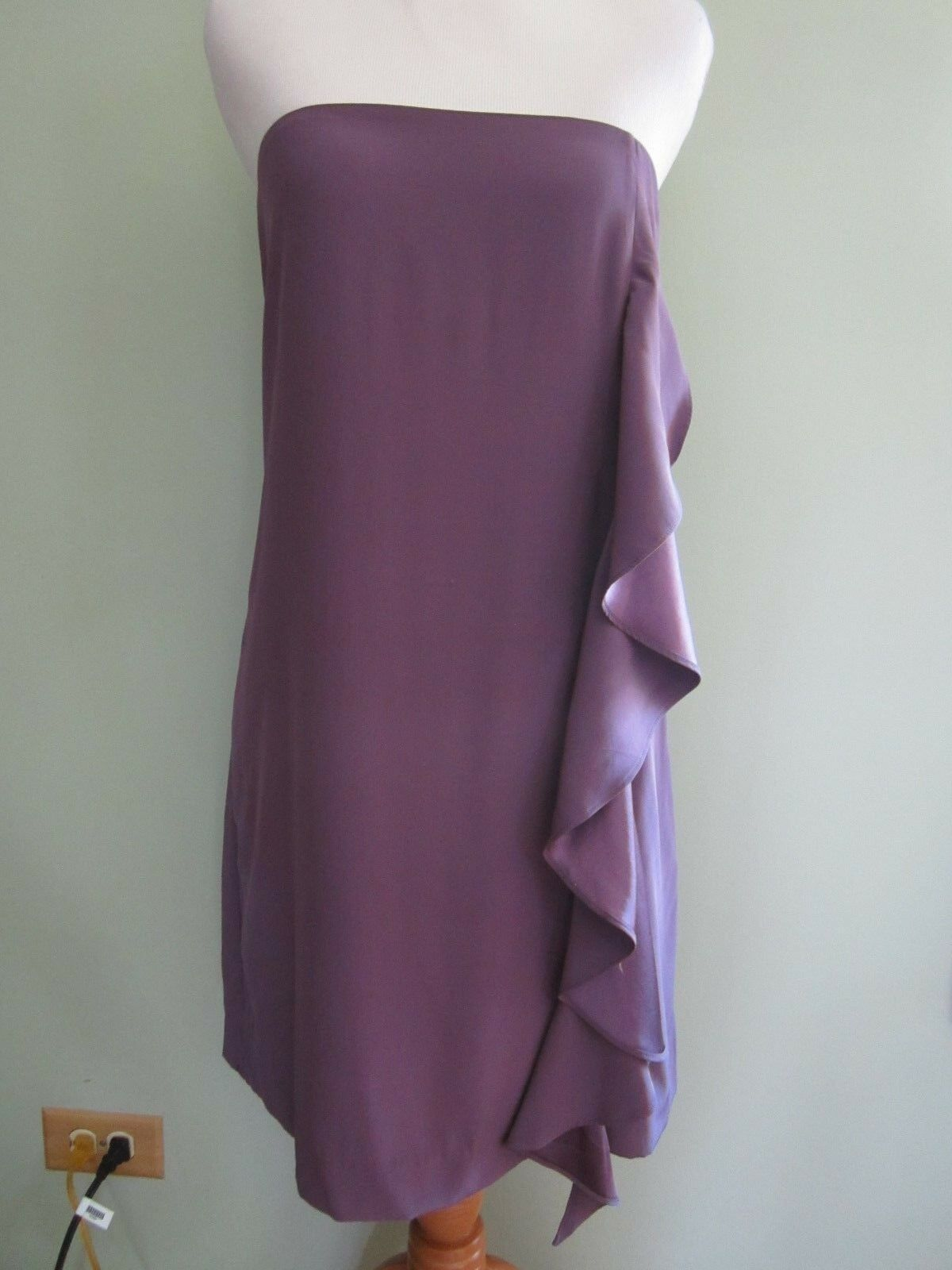 ELIZABETH and JAMES lila Silk Ruffle Side Detail Strapless Dress Größe 8
