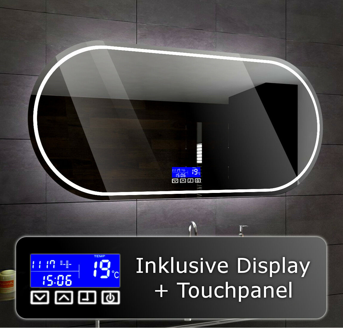 Illuminated Led bathroom mirror To Measure PALERMO + LCD TOUCH Control Panel