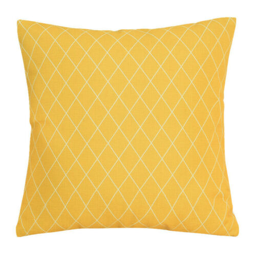 Vintage Style Yellow Cushion Cover Waist Pillowcase Linen 18 Square Home Decor
