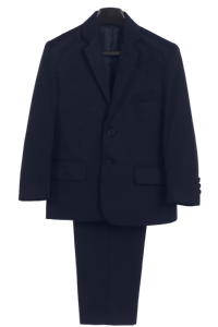 Boys Navy Two-Piece Suit w. 2-Button Jacket & Trousers Husky Size 12H-20H