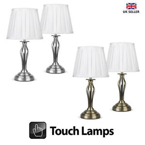2 x traditional touch table lamps antique brass brushed chrome image is loading 2 x traditional touch table lamps antique brass aloadofball Gallery