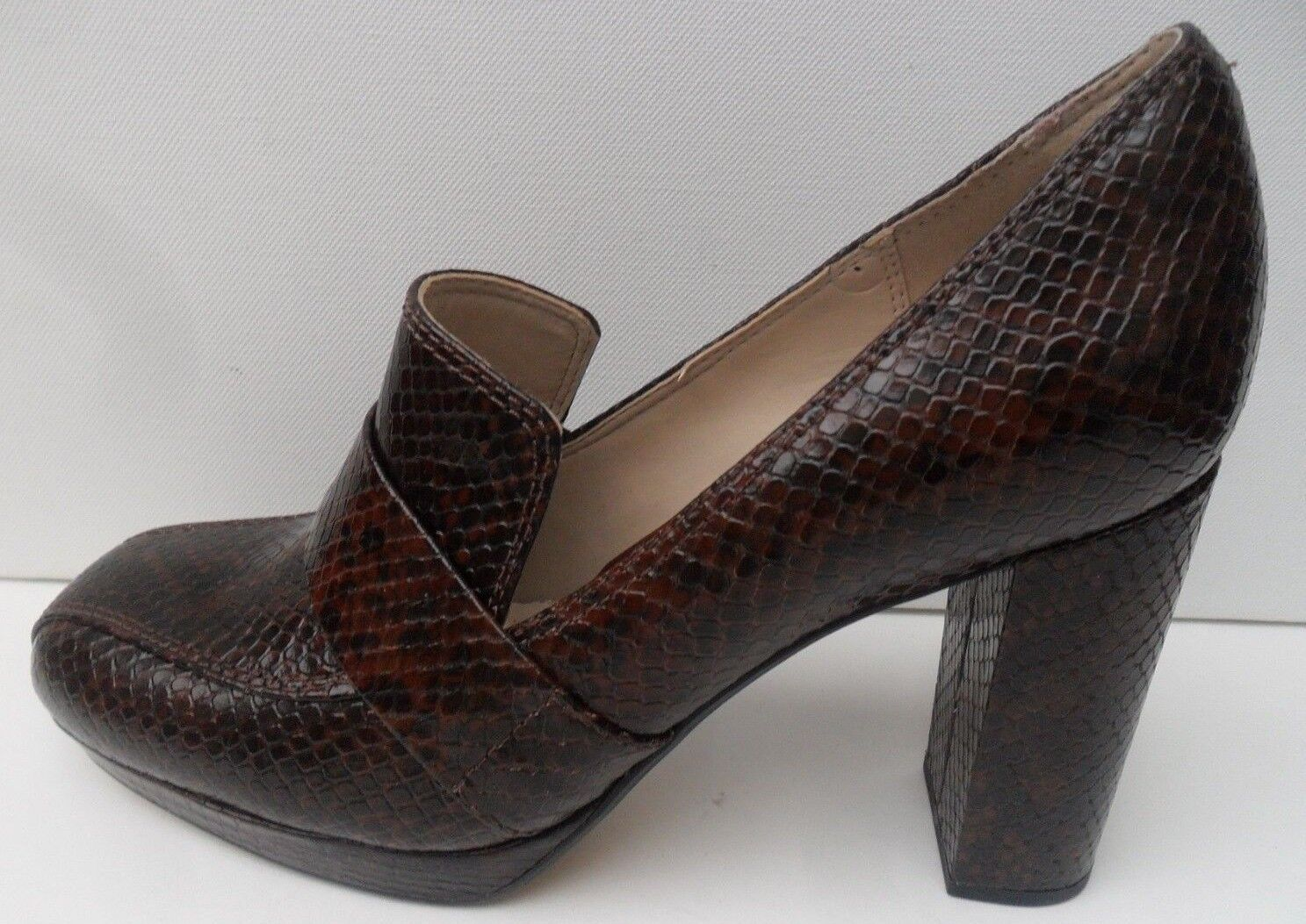 Women's Clarks Gabriel Soho Brown Leather High Heel shoes - Size UK 7 D EUR 41