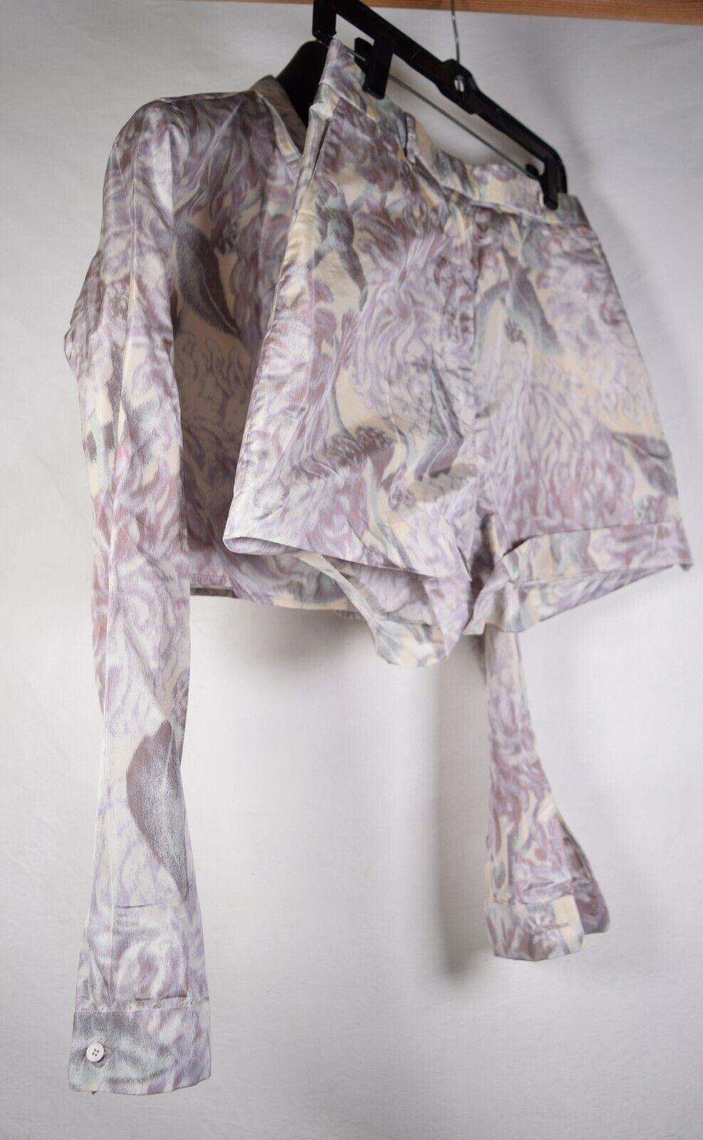 Rochas Camisa De Vestir Manga Larga cultivo Floral Púrpura  Plisado Pantalones Cortos Set 40 para mujer Italia  promociones de equipo