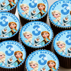 Awesome Frozen Elsa Anna Happy 3Rd Birthday Edible Cupcake Toppers Funny Birthday Cards Online Elaedamsfinfo