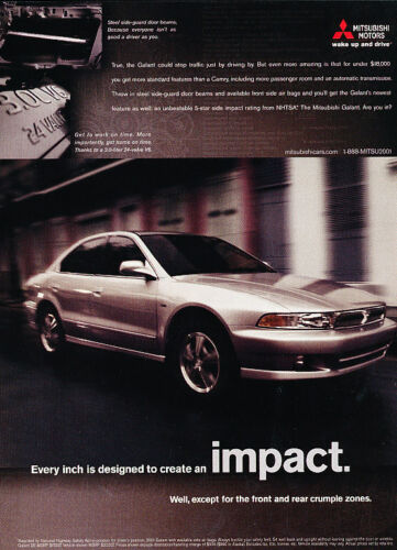 Impact 2001 Mitsubishi Galant Classic Vintage Advertisement Ad D65