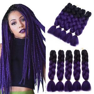 Image Is Loading 24 034 Ombre Synthetic Black Purple Kanekalon Jumbo