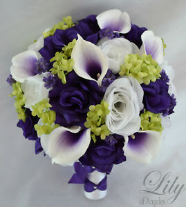 17 Piece Package Silk Flower Wedding Bridal Bouquets Sets Purple Green