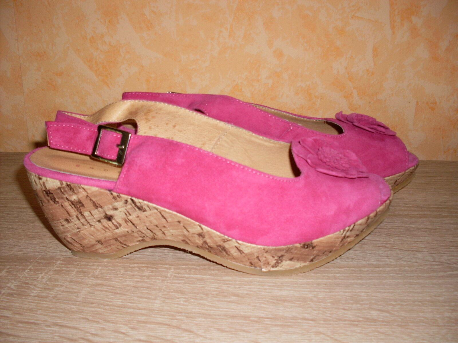 Andrea Conti super süsse KeilSandaleeette NEU Gr. 38 in pink & butterweichem Leder