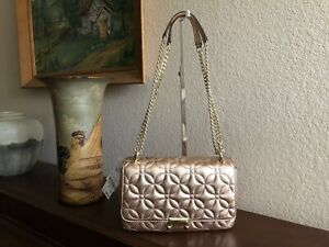 8fa5d4d4152 Image is loading Michael-Kors-Sloan-Large-Metallic-Quilted-Floral-Leather-