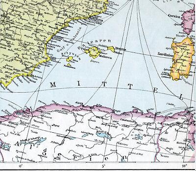 Algérie Tunis Mallorca Barcelona 1940 Orig. Teil-karte Sardegna Corse Valencia Jade Weiß