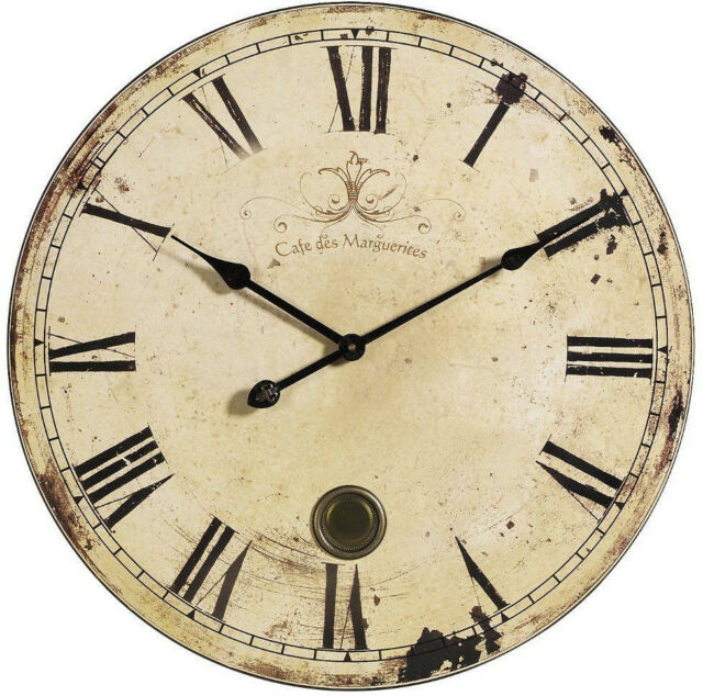 Vintage Roman Numeral Large Wall Clock With Pendulum Antique Country Round