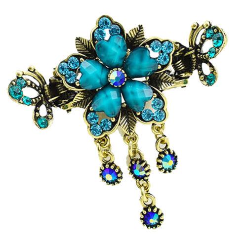 Womens Retro Antik Metall Haar Klaue Clips Kristall Quaste Blume Klemmen