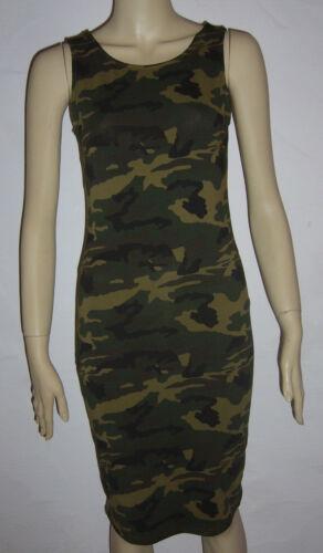 Military ARMY CAMOUFLAGE Sommer Kleid Shirt Trägerkleid Mini Stretch S M L NEU