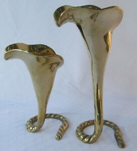 Lot of 2 Vintage Brass Cala Lily Candle Holders Candlesticks