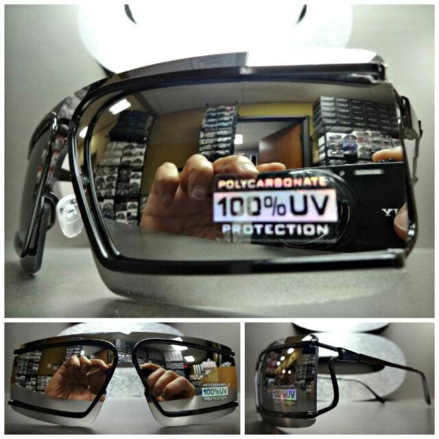 ROBOT COSTUME PARTY RAVE CYCLOPS FUTURISTIC SHIELD Black SUN GLASSES Mirror Lens