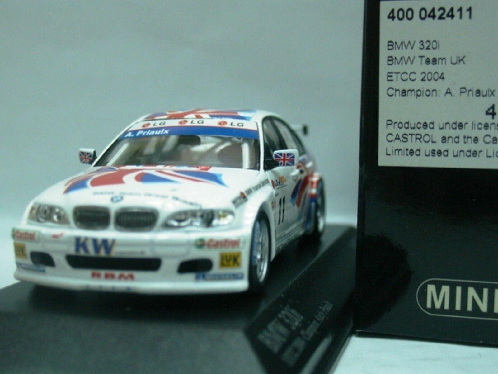 Wow extrêmement rare BMW E46 320i  11 Priaulx Donington 2004 ETCC 1 43 Minichamps