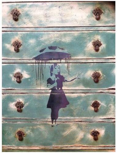 Banksy Nola Rain Girl Umbrella Stencils Paint Banksy Reusable Wall Art Stencils