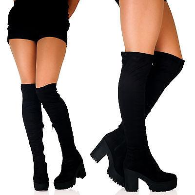 BLACK B1H NEW WOMENS OVER THE KNEE THIGH HIGH CHUNKY PLATFORM BLOCK HEEL LADIES