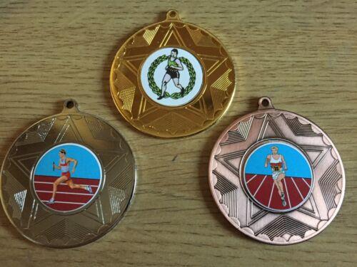 50mm argento e bronzo-Gratis Incisione centri /& nastri 3 xmale in esecuzione le medaglie oro