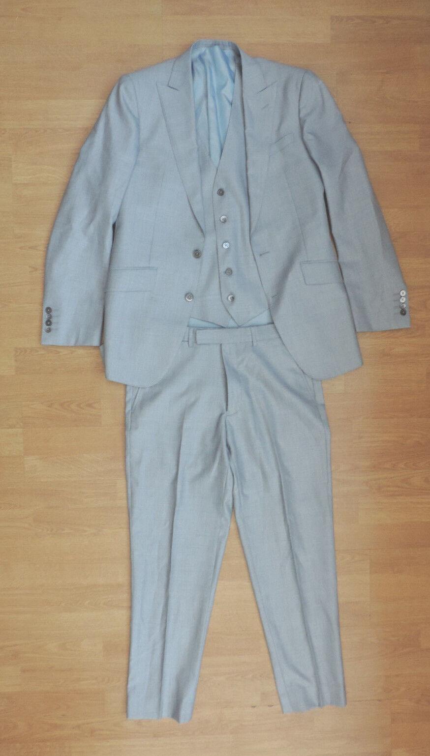 Herren MOSS BROS 1851 LONDON 3 Piece Suit TailoROT Fit Silk Wool Blend Blau F5-B4