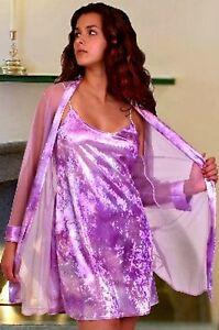 Purple-Shiny-Velvet-Chemise-Nightgown-Robe-Set-2X-Gown-amp-Robe-Plus-Size