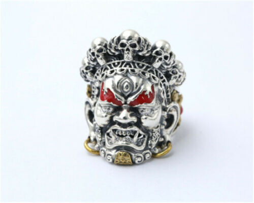 Retro 925 Argent Mahakala Tibet bouddhiste Skull Masque anneau bague homme fait main