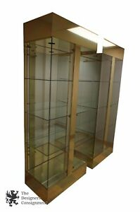 Image Is Loading 2 Mastercraft Style Br Curio Cabinets Display Gl