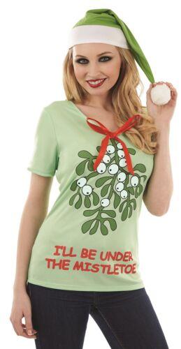 Onorevoli Divertente T-SHIRT DI NATALE E CAPPELLO BABBO NATALE Segreto FANCY DRESS UK 8-22 Plus Size