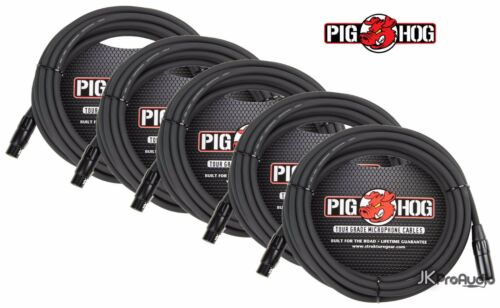 5 PACK Pig Hog 8mm Mic Cable 30/' foot XLR to XLR w// LIFETIME Warranty PHM30