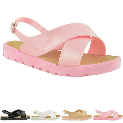 WOMENS LADIES JELLY SUMMER SANDALS RETRO FLAT FLIP FLOP RETRO BEACH SIZE