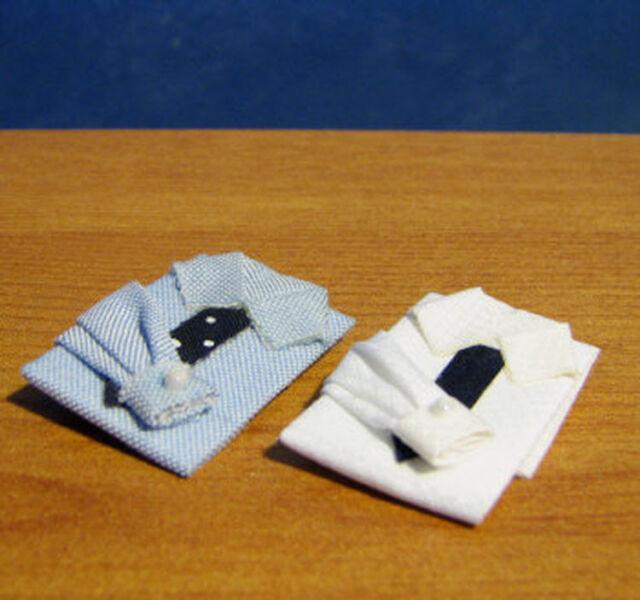 1/12, dolls house miniature Two Shirt & Tie Sets Shirts mens smart doll BN LGW