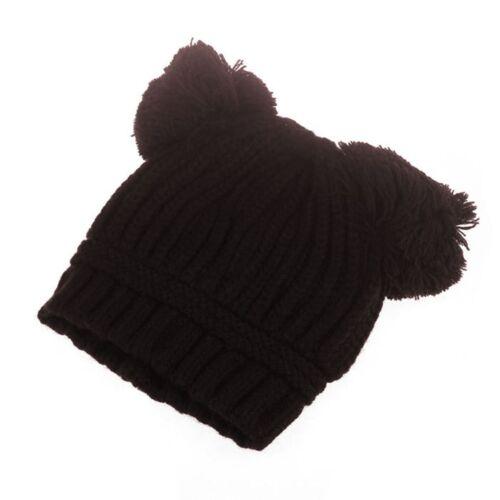 Kids Baby Girl Boy Winter Warm Knit Hat Toddler Dual Hairball Pom Pom Beanie Cap
