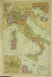 1912 LARGE ANTIQUE MAP ~ ITALY SICILY SARDINIA ~ INSET ENVIRONS ROME ...